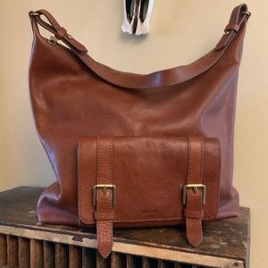 Fossil leather hobo shoulder bag w/front pocket